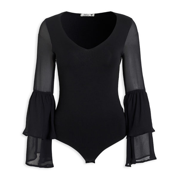 Black Frill slv bodysuit- R575