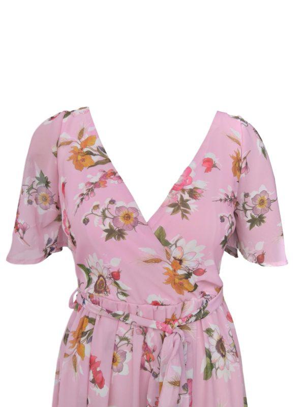Misty rose floral jenny split sleeve dress- 278.8291 R899